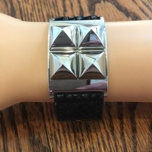 Michael Kors leather cuff with pyramid studs